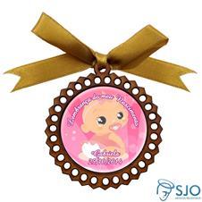 Medalhão de Madeira para Lembrancinha de Nascimento Rosa