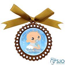 Medalhão de Madeira para Lembrancinha de Nascimento Azul