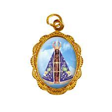 Medalha de alumínio - Nossa Senhora Aparecida -  Mod. 3 Dourado