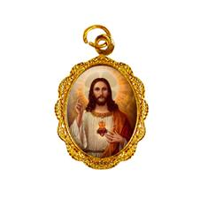 Medalha de alumínio - Sagrado Coração de Jesus - Mod. 3 Dourado