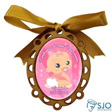 Medalhão de Madeira para Lembrancinhas de Nascimento - Oval