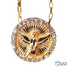 Medalha Folheada Divino Esp�rito Santo com Strass - 30 cm