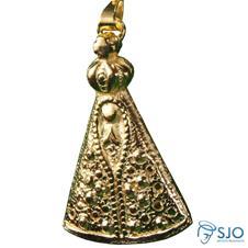 Colar de Nossa Senhora Aparecida em Relevo Folheado a Ouro