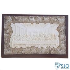 Porta Retrato de Madeira Pergaminho Branco com Fundo Santa Ceia - 17 cm