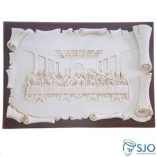 Porta Retrato de Madeira Pergaminho Branco Santa Ceia - 21 cm