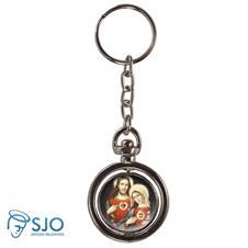 Chaveiro Redondo Giratório - Sagrado Coração de Jesus e Maria