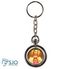 Chaveiro Redondo Girat�rio - Sagrado Cora��o de Jesus - Modelo 2