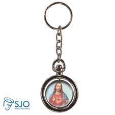 Chaveiro Redondo Giratório - Sagrado Coração de Jesus - Modelo 3