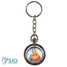 Chaveiro Redondo Girat�rio - Sagrado Cora��o de Maria - Modelo 1