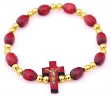 Pulseira em Madeira com Crucifixo - Dourado