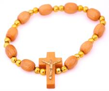 Pulseira em Madeira com Crucifixo - Modelo Pequeno
