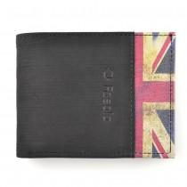 Carteira Masculina em Couro Legítimo Nobuk FASOLO - Detalhe Lateral - Bandeira Reino Unido K587-067