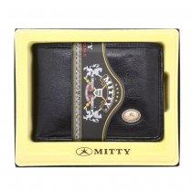 Carteira Porta Notas Micro Mitty em Couro Legítimo Lisa Sem Ponteiras Logo Metal M0V