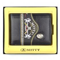 Carteira Porta Notas Micro Mitty em Couro Legítimo Listras Sem Ponteiras Logo Metal M0V