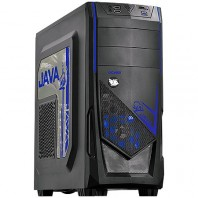 GABINETE MID TOWER JAVA S/ FONTE C/ 01 FAN LED AZUL FRONTAL E 01 FAN TRASEIRO