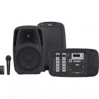 Mesa de Som Amplificada Novik Nkevo410 4 Canais Usb Sd + 2 Caixa 10 e 1 Microfone