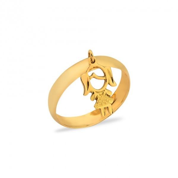 Compre Anel Liso em Ouro 18k 750au com Pingente em Ouro em f1456485ae