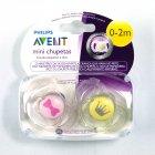 Chupeta Mini 0-2 meses rosa e amarelo - Avent - 041371