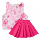 Conjunto blusa e saia com estampa de rosas - Vic&Vicky - 040178