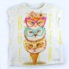 Conjunto blusa e shorts com estampa de sorvetes e gatinhos - Animê - 041761