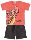 Conjunto camiseta e bermuda com estampa do Tigrão - Brandili - 040454