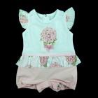Macacão Curto Flores Anjos Baby - 035100