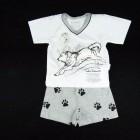 Pijama Curto Malha Lobo Cara de Criança - 034124