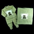 Saída de Maternidade Macacão e Manta Urso Jacquard Petit Mouton - 038237