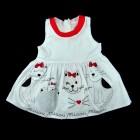 Vestido de Tricoline Gatinhos Barrado Pituchinhu's Mini - 033187