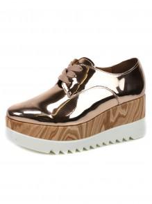 Sapato Vizzano Metalizado Flatform Madeira