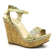 Sandália Dourada De Couro Bottero