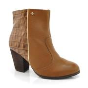 Ankle Boot Com Salto Cravo & Canela