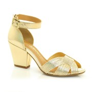 Sandália Dourada De Salto Alto Dakota