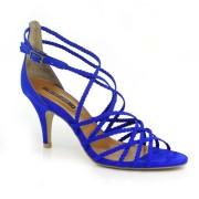 Sandália De Salto Alto Em Couro Azul Ou Preta Suzzara