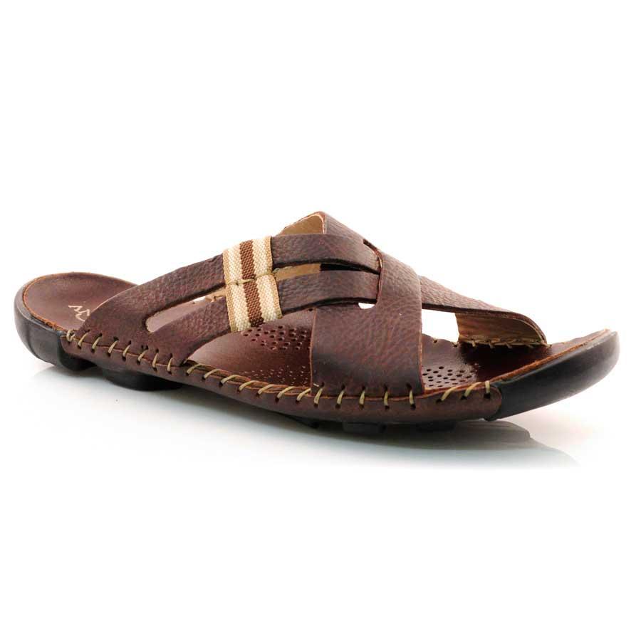 Chinelos De Couro ~ Chinelo Masculino De Couro Andacco 7210 SEPIA Vizzent Calçados Compre online Pague em